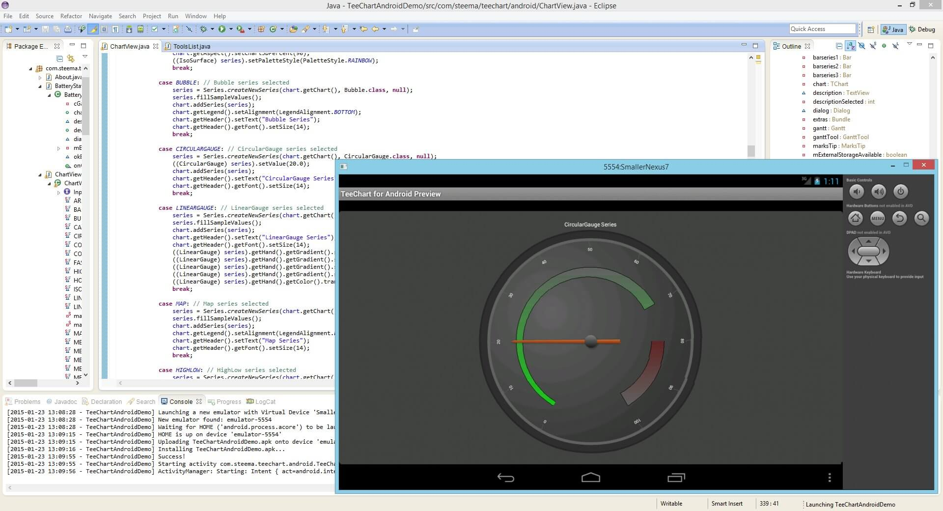 TeeChart Java for Android offers Circular and Linear Gauge types.