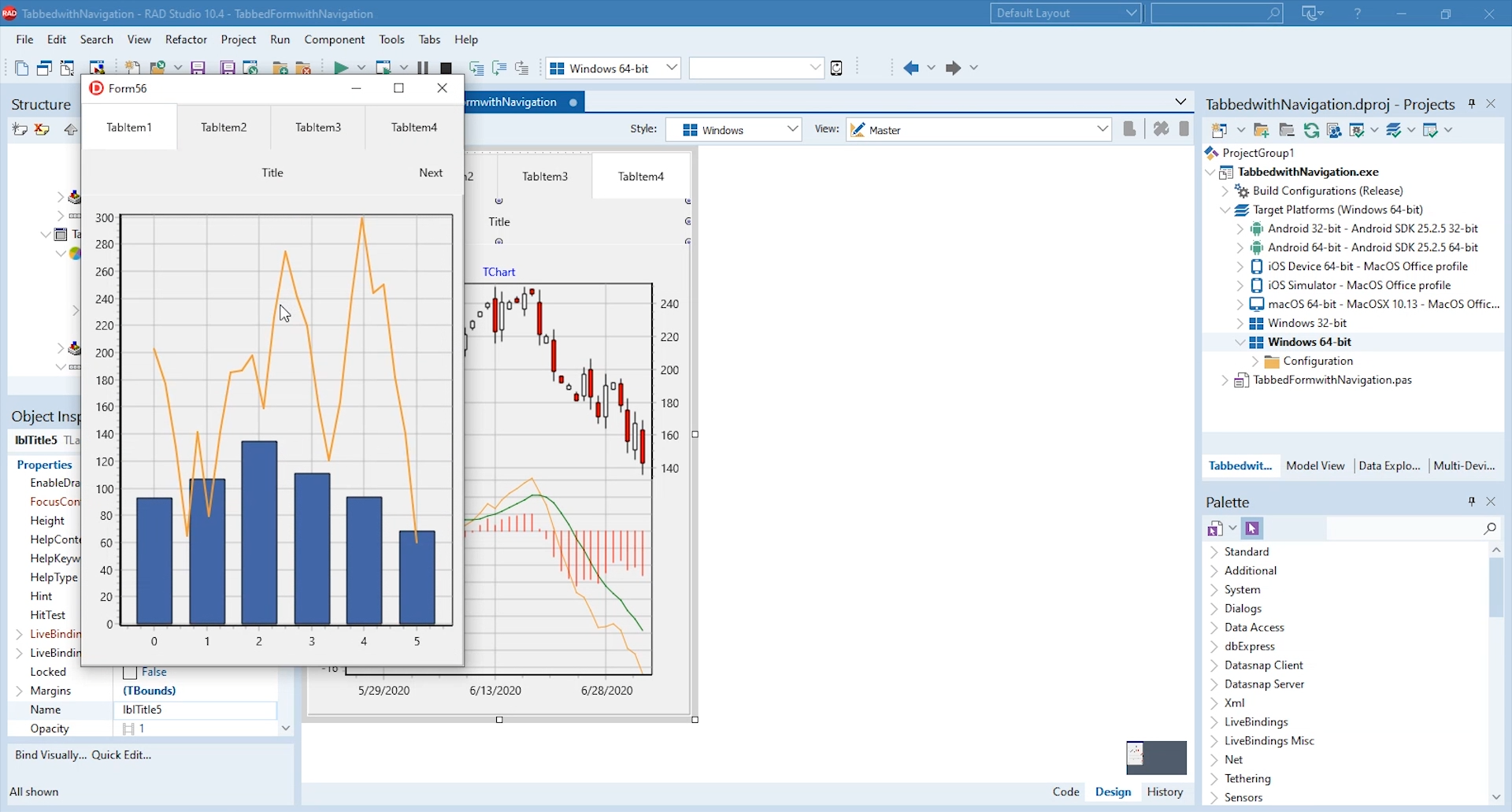 TeeChart Pro on a multi-platform FMX application in Embarcadero's RAD Studio 10.4 Sydney IDE.